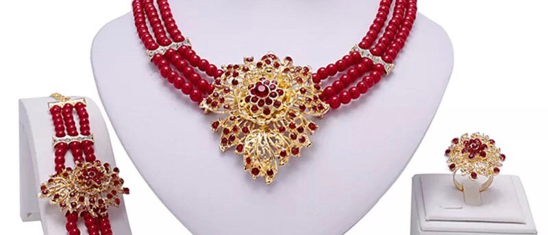 18K Gold Plated Red Beads and Diamanté Women's Jewellery Set