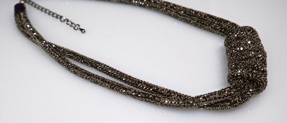 Black 2 Strand Hematite Diamante Necklace, Hematite  Statement Necklace