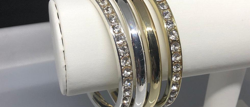 Diamanté and Plain 2PCS Set Bangle