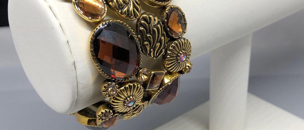 Bronze Gold Design Elasticated Ladies Bracelet
