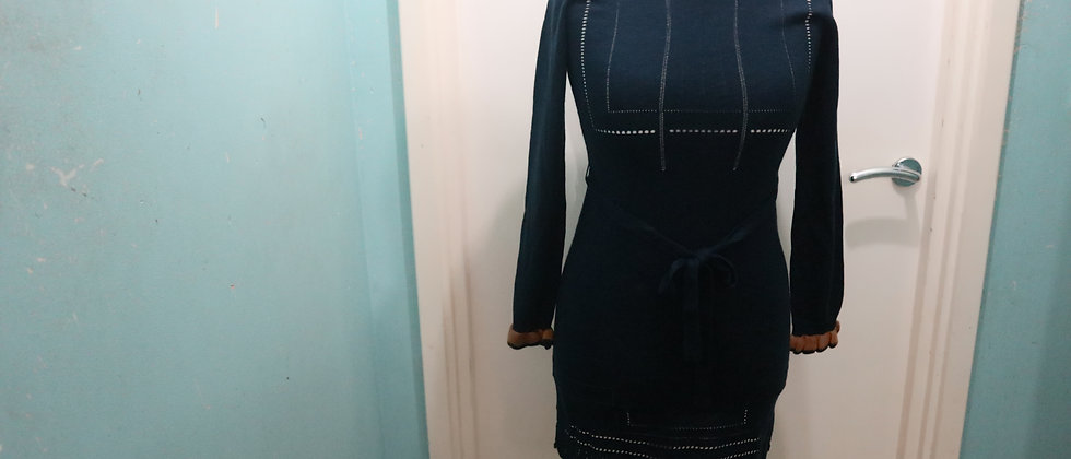 Navy Blue Knitted Dress With Belt, Scallop Edge Knitted Dress