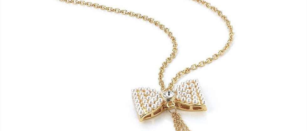 Bow and Pearl Design Long Chain Necklace
