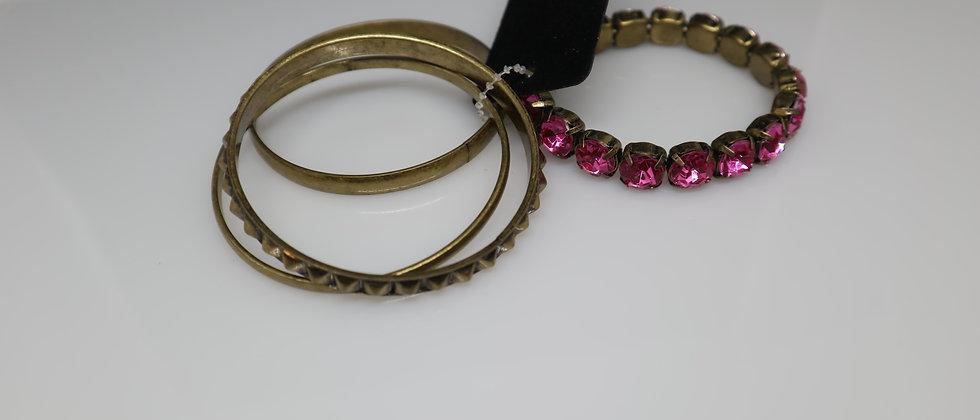 4 PCS Burnish Gold Ladies Bangle/Bracelet Set