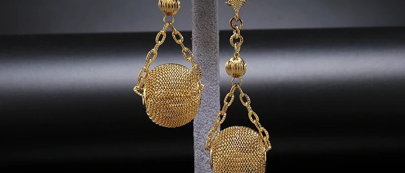 Gold Plated Statement Ball and Chain Earring