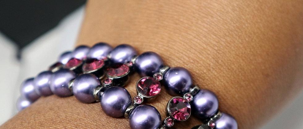 Fiorelli Jewellery Purple Beaded Elasticated DiamanteBracelet