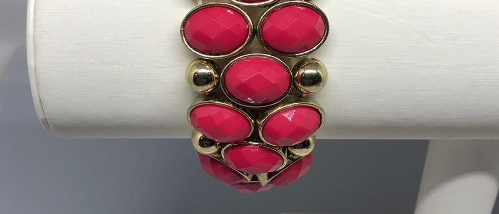 Fuchsia Pink Bead and Gold Bead Elasticated Bracelet