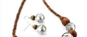 Beautiful Wooden Necklace and Earring Set