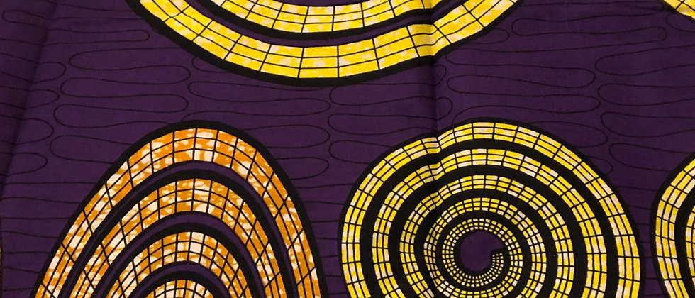 Gorgeous Purple Circle Design 100%Cotton African Wax Print Fabric