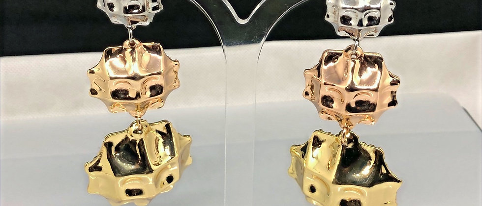 3 Drop Ladies 18K Gold Plated Dangling Earring