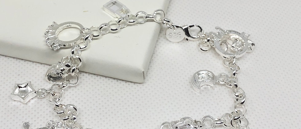 Exquisite Quality Silver Charm Bracelet With Diamanté Crystal