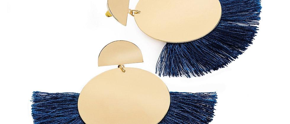 Gold colour navy thread round tassel earring