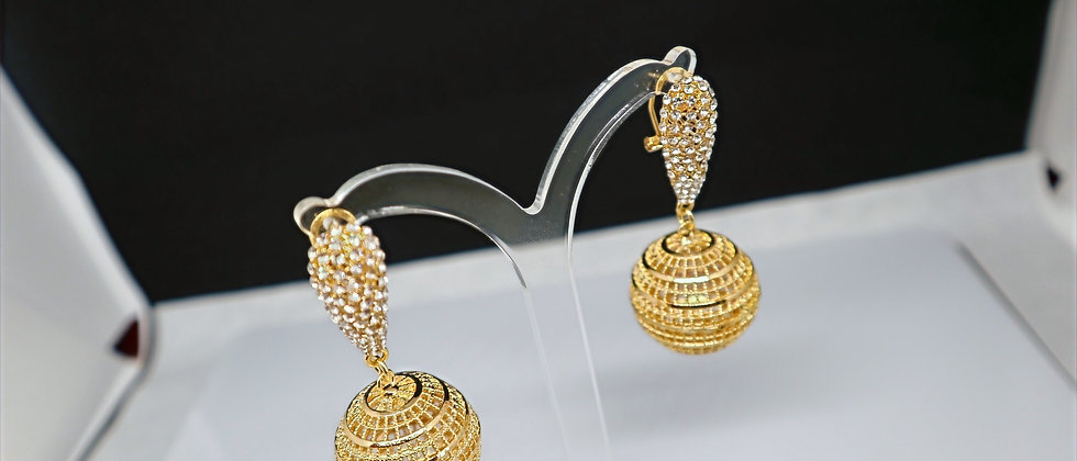 Gold Earring ,Gold Plated Drop earring Cubic Zircon Dangle earring