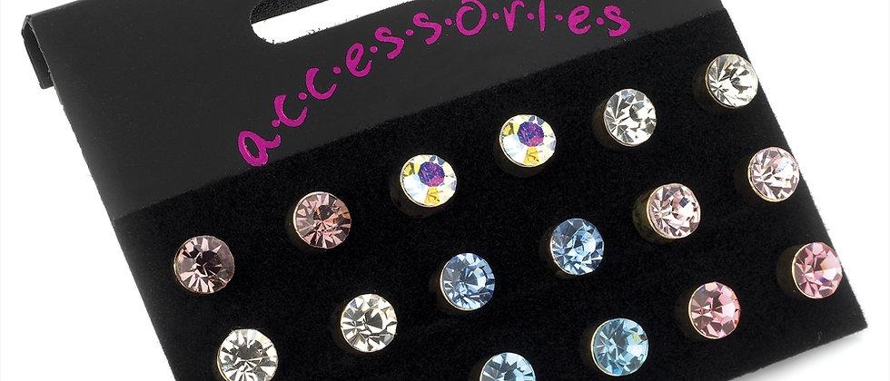 Beautiful Mix Colour Diamanté Studs Earrings