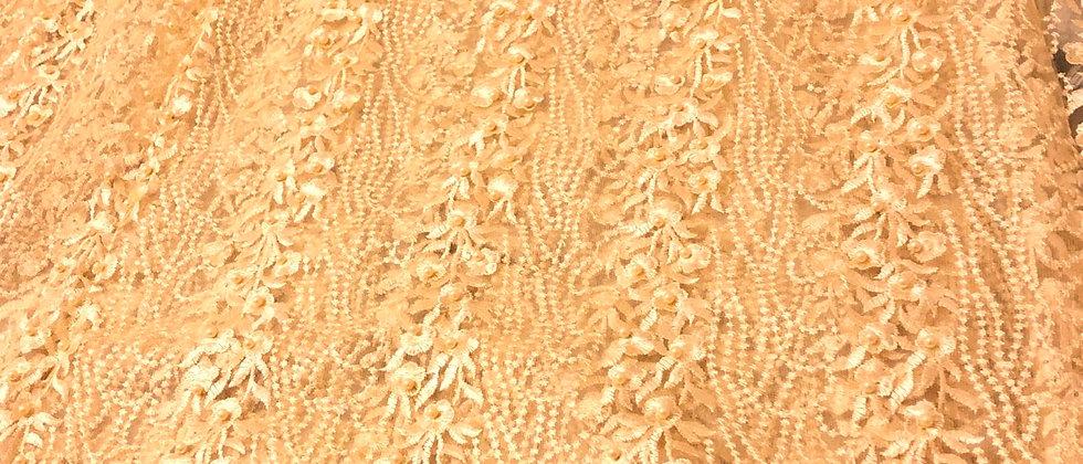 Excellent Beaded Flower Design Net Lace