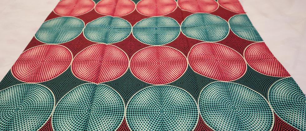 African Wax Print Fabric Fuchsia Pink /Green, 6 Yard Julius Holland Wax Fabric