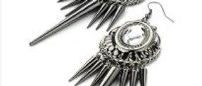 Burnt Silver Spike Fashion Earring