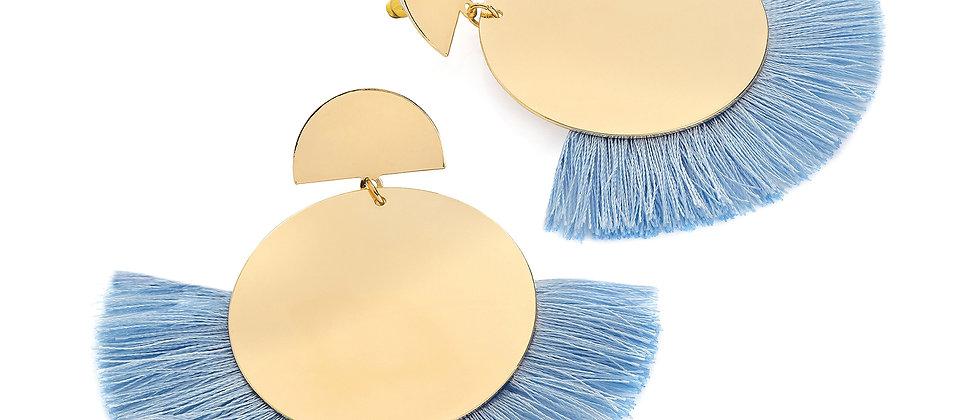 Gold colour blue thread round tassel earring