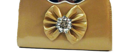 Diamante Crystal Bow champagne Colour Mouth Shape Handle Clutch Bag