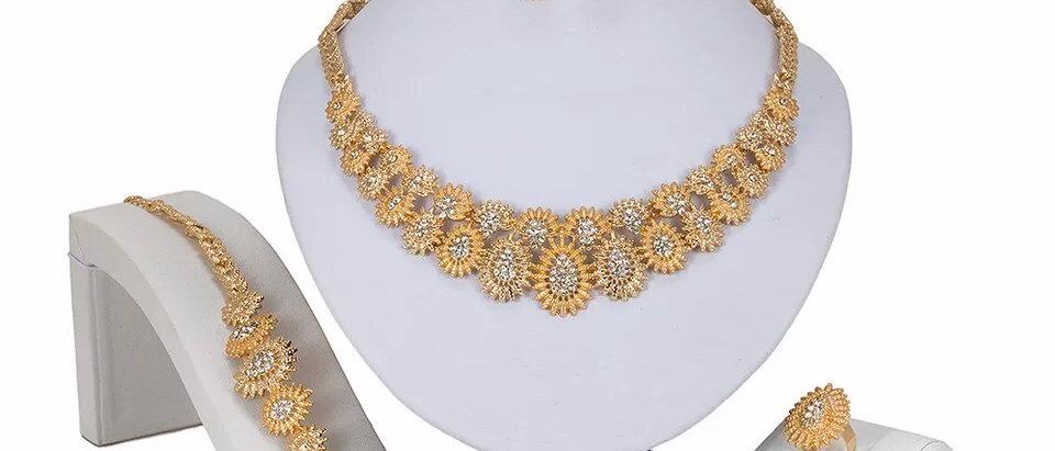 Gold Plated Geometric Crystal Jewellery Set