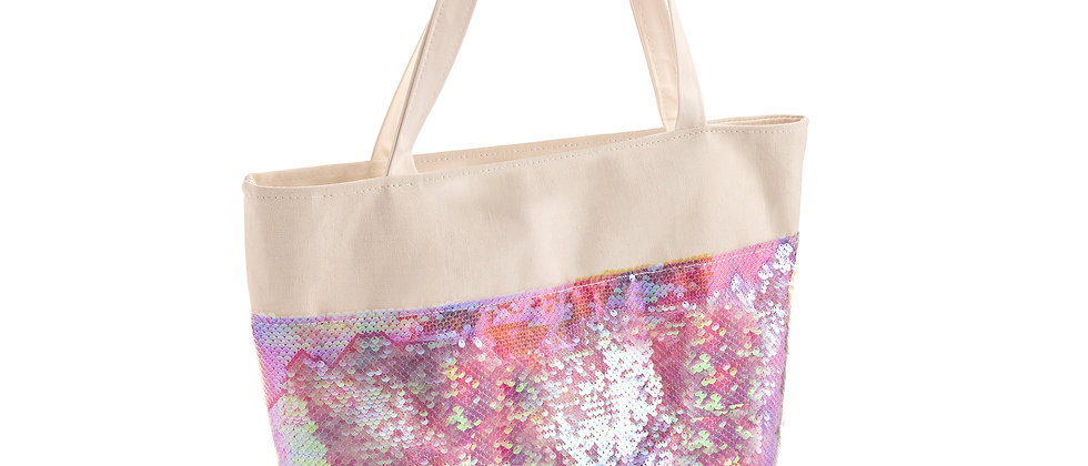 Canvas Bag White and pink tone sequin shoulder bag Canvas Tote bag