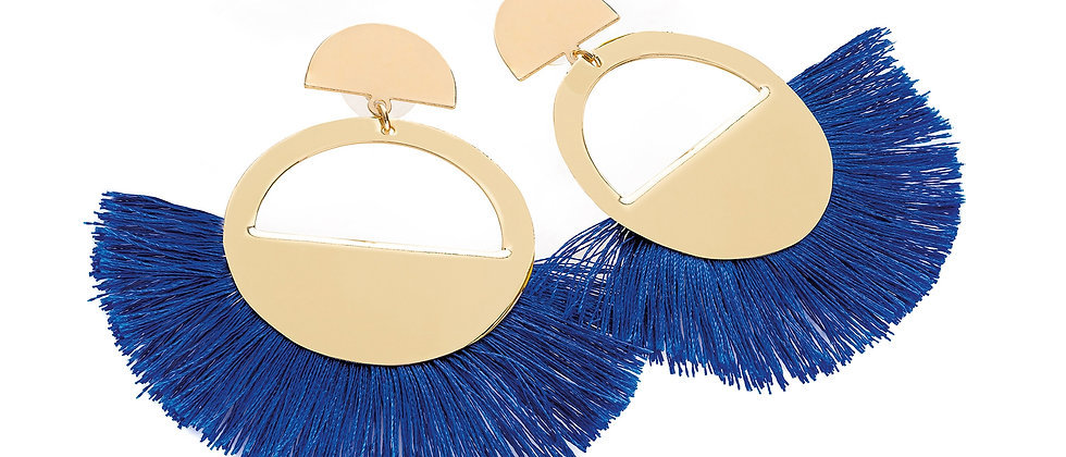 Gold and royal blue colour thread round tassel earring