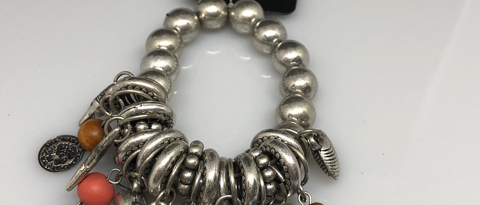 Antique Silver Effect Ladies Charm Elasticated Bracelet