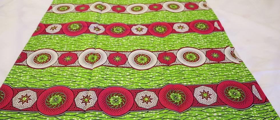 African Print Fabric, Julius Holland 6 Yards Green/fuchsia pink/white Flower