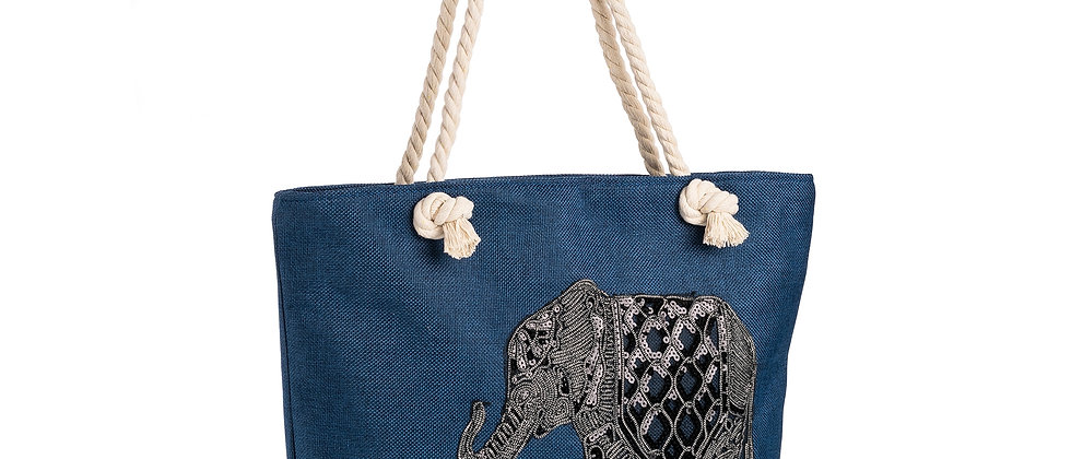 Canvas Bag Tote Blue and grey sequin elephant design bag Canvas Shoulder Bag