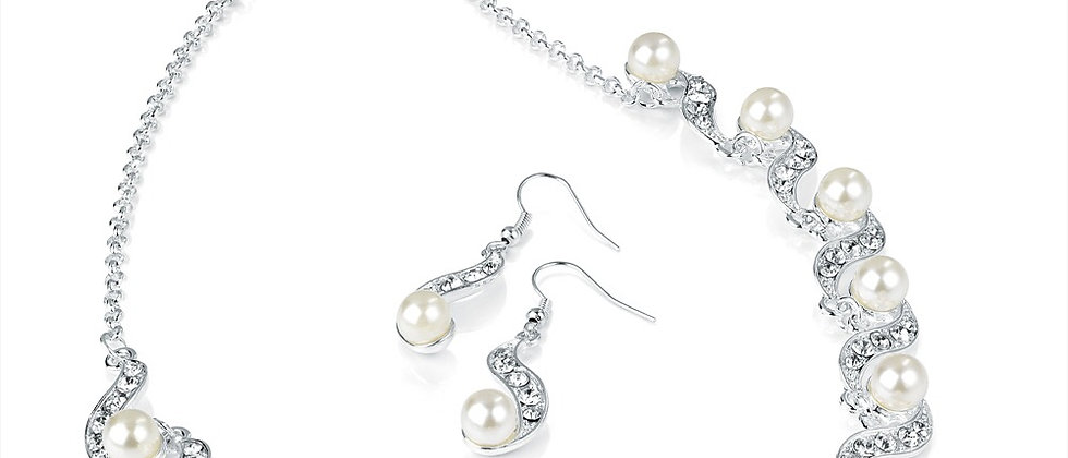 Dazzling Pearl and Diamanté Crystal Necklace and Earring Set