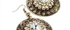 Diamanté Round Filigree Burnished Gold Earring