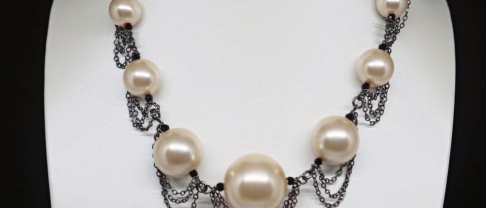 Fiorelli Jewellery Beads and Chain Ribbon Necklace, Beaded Chain Ribbon Necklace