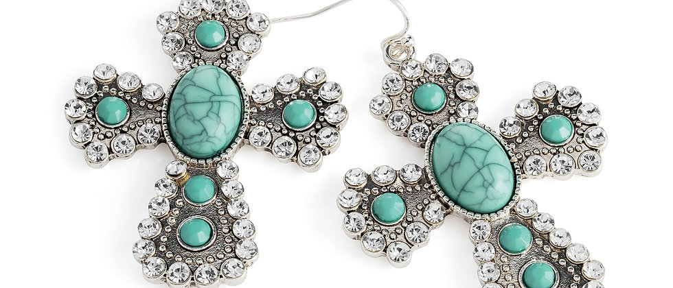 Antique silver turquoise colour bead crystal cross earring.