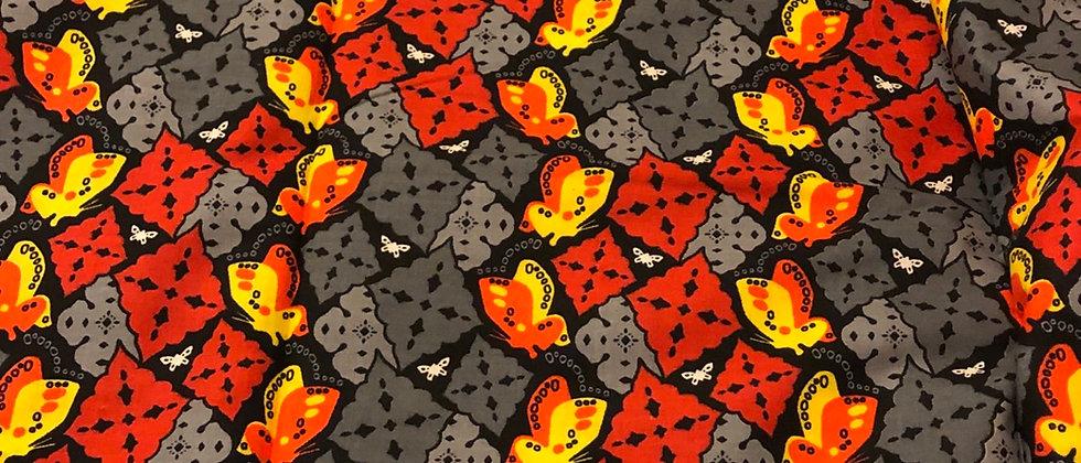 Butterfly Design Cotton African Wax Print, Ankara Wax Fabric