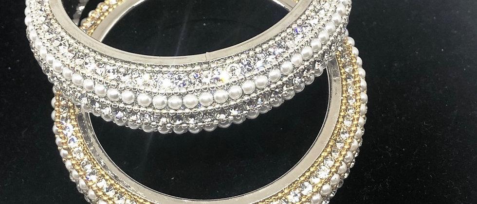 Fabulous Dazzling Handmade Crystal and Pearl Bangle