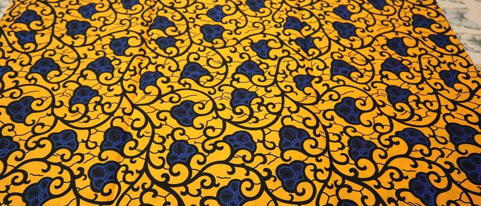 Yellow/Blue Flower Design Ankara African Wax Print Fabric, African Ankara Print