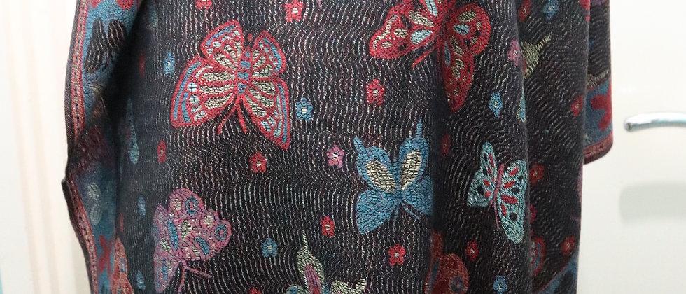 Black Metallic Thread Butterfly Print Tassel Scarf,Hijab,head wrap,ankara head w