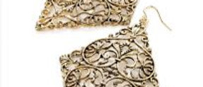 Gold Filigree Diamond Shape Earring