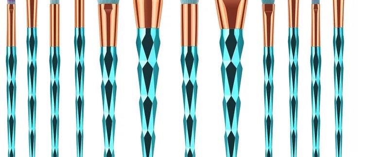 Diamond Cut Makeup Brushes Set 12 Pieces Premium Colorful Foundation Blending Bl