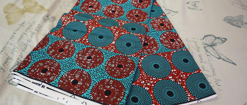 African Ankara Print Disc Design Wax Fabric