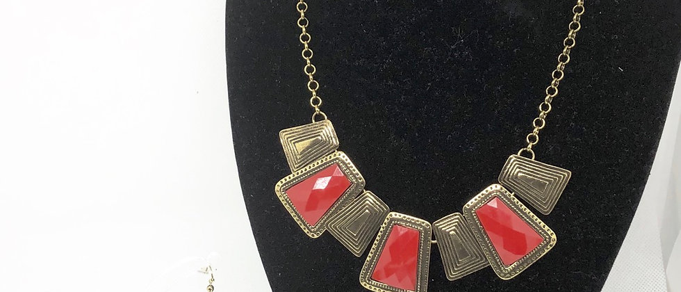 Antique Gold Effect Necklace and Earring Set
