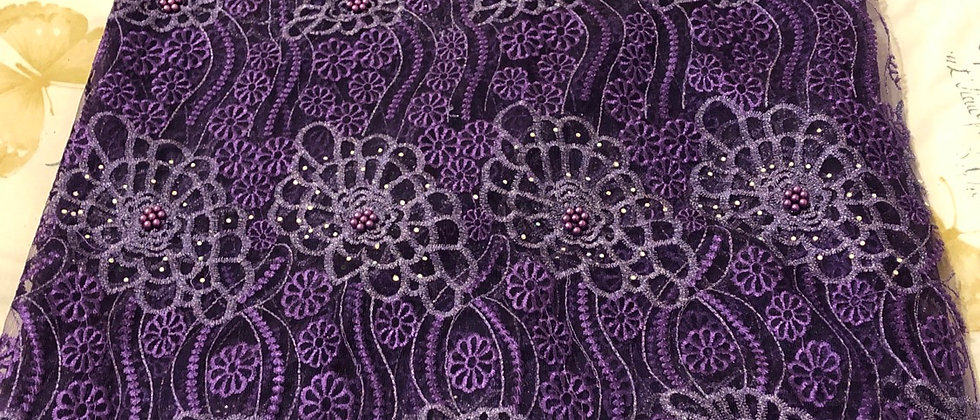 Beaded and Stone Purple Net Lace