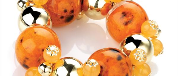 Gorgeous Elastic Orange and Gold Beads Bracelet