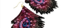 Feather Shaped Sequence Multi Colour Earring