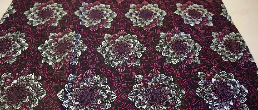 African Print, Ankara Fabric, Purple African Wax Print Fabric, Craft fabrics
