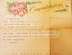 Telegram to Muriel from Florence Winston