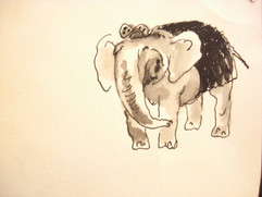 Elephant drawing and watercolor