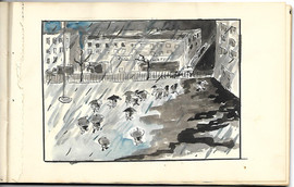 Drawing of People with Umbrellas