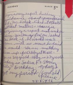Kristin Robinson's Diary Entry