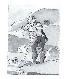 Drawing of Man with Shovel