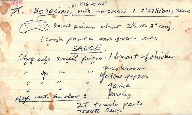 Rigatoni with Chicken and Mushrom Sauce.